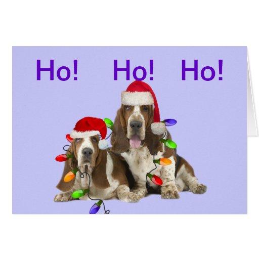 Basset Hounds Ho Ho Ho Merry Christmas Cards