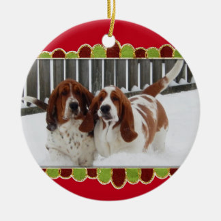 Basset Hounds in the Snow on Christmas Ornament
