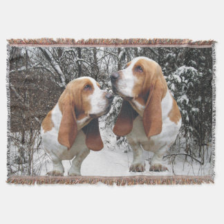 Basset Hounds In The Snow Throw Blanket