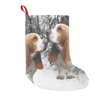 Basset Hounds in the Snowy Woods Small Christmas Stocking
