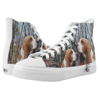Basset Hounds in the Woods High Tops