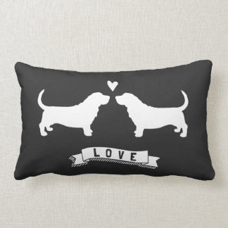 Basset Hounds Love - Dog Silhouettes w/ Heart Throw Cushions