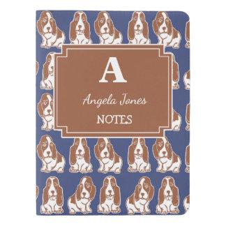 Basset Hounds Navy & Brown Custom Notebook