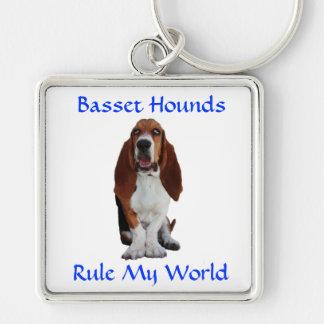 Basset Hounds Rule My World  Premium Keychain