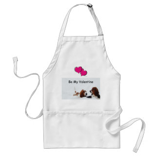 Basset Hounds Valentines in the snow on apron.