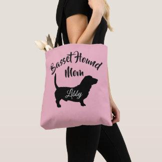 Basset Mom (add dog's name) Tote Bag
