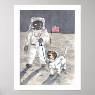 Basset Moon Walk Poster