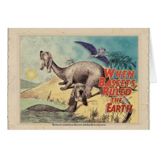 Basset-o-saurus: The origin of bassets Greeting Cards