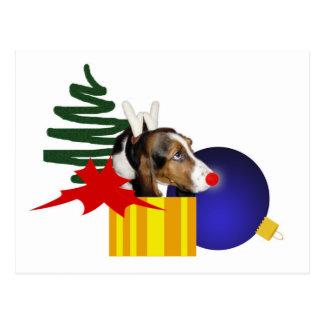 Basset Reindeer Postcard