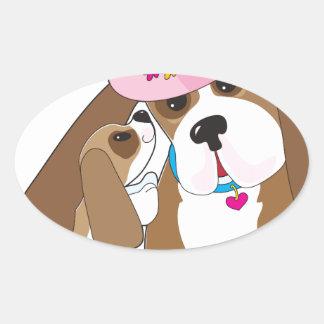 Basset Talk Mom Oval Sticker