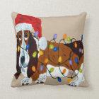Basset Tangled In Christmas Lights Cushion