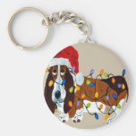 Basset Tangled In Christmas Lights Basic Round Button Key Ring