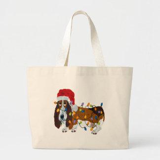 Basset Tangled In Christmas Lights Large Tote Bag