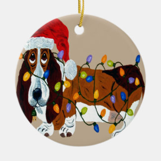 Basset Tangled In Christmas Lights Round Ceramic Decoration