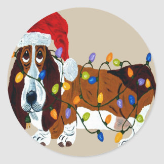 Basset Tangled In Christmas Lights Round Sticker