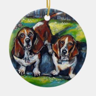 Bassets Murphy and Maddy Round Ceramic Decoration