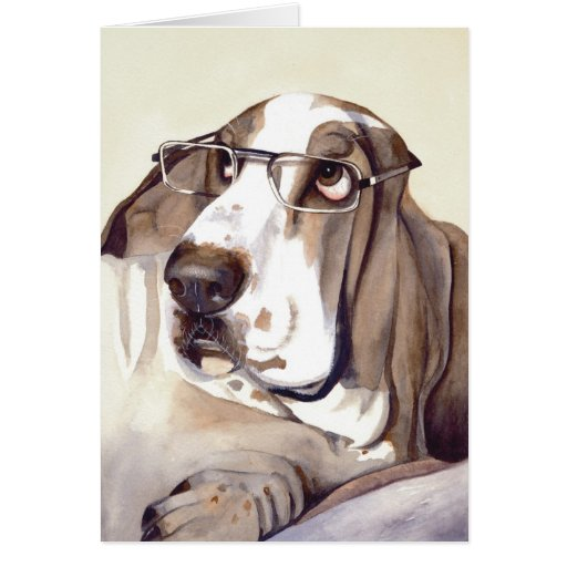 Bassett Hound Painted in Watercolour Card