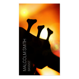 Bassist Bass Headstock Light Flare Musician Business Card Template