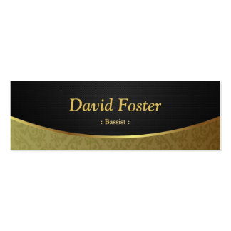 Bassist - Black Gold Damask Double-Sided Mini Business Cards (Pack Of 20)