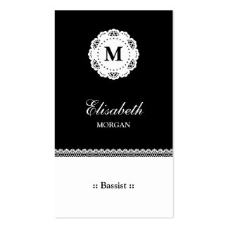 Bassist Black White Lace Monogram Pack Of Standard Business Cards