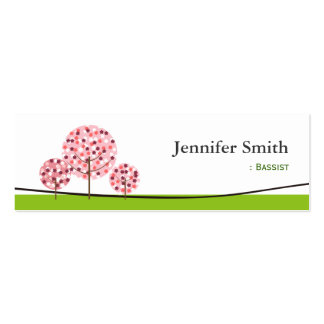 Bassist - Cute Pink Tree Symbol Double-Sided Mini Business Cards (Pack Of 20)
