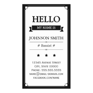 Bassist - Retro Hello My Name Is Pack Of Standard Business Cards