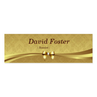 Bassist - Shiny Gold Damask Double-Sided Mini Business Cards (Pack Of 20)