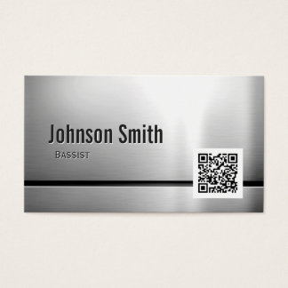 Bassist - Stainless Steel QR Code Business Card