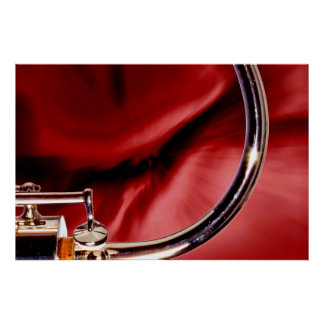 Bassoon Bocal Music Instrument in red Color Poster