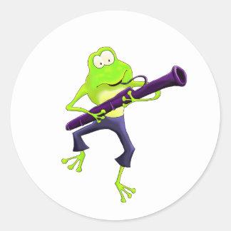 Bassoon Frog Round Sticker