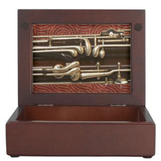 Bassoon Keys on Dark Red Keepsake Boxes