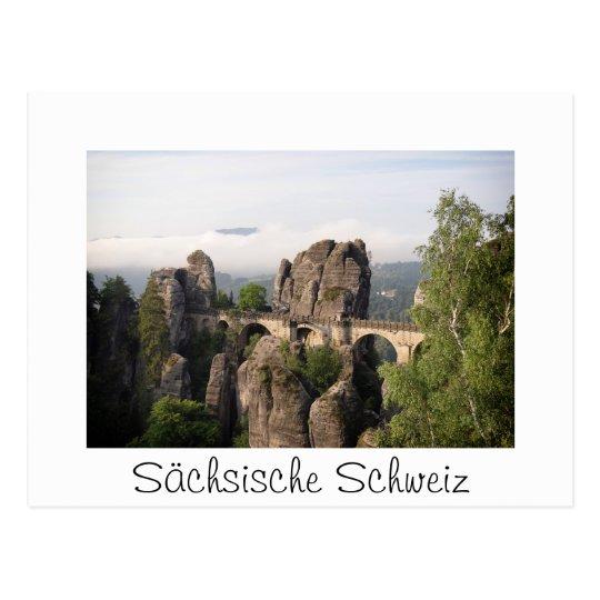 Bastei Bridge in Sächsische Schweiz white postcard