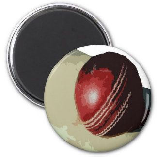 BAT AND BALL 6 CM ROUND MAGNET