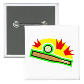 Bat & Ball 15 Cm Square Badge