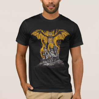 Bat Burning Ghost House T-Shirt