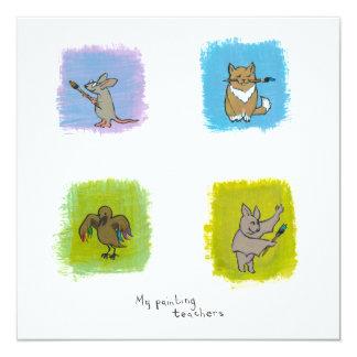 """Bat cat rat raven art teachers fun cute paintings 5.25"""" square invitation card"""
