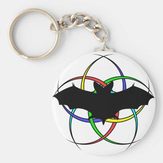 Bat Crescent Design Basic Round Button Key Ring
