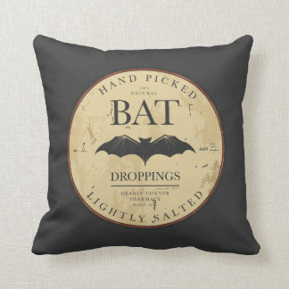 Bat Droppings Vintage Halloween Label Cushion