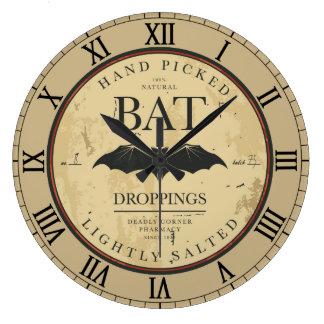 Bat Droppings Vintage Halloween Label Large Clock