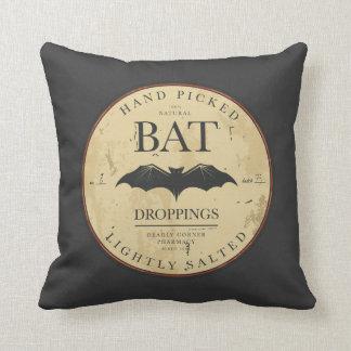 Bat Droppings Vintage Halloween Label Throw Pillow