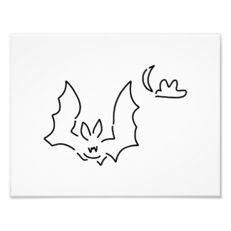 bat flight dog at night moon photographic print