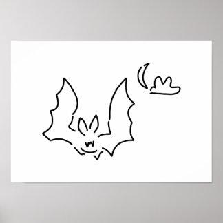 bat flight dog at night moon poster
