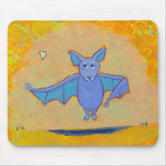Bat flying floating hovering with heart cute art mouse pad