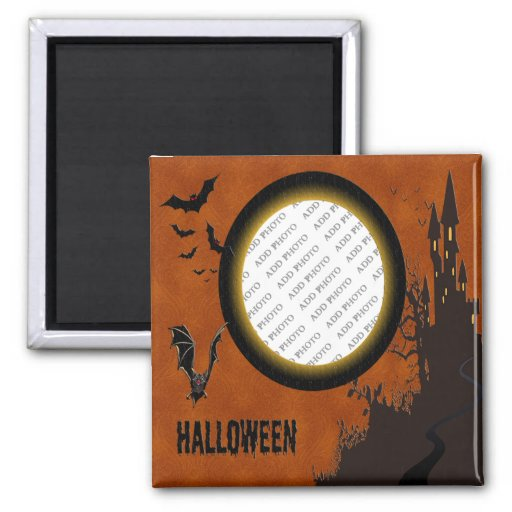 Bat, Haunted House Photo Frame and Orange Sky Refrigerator Magnet