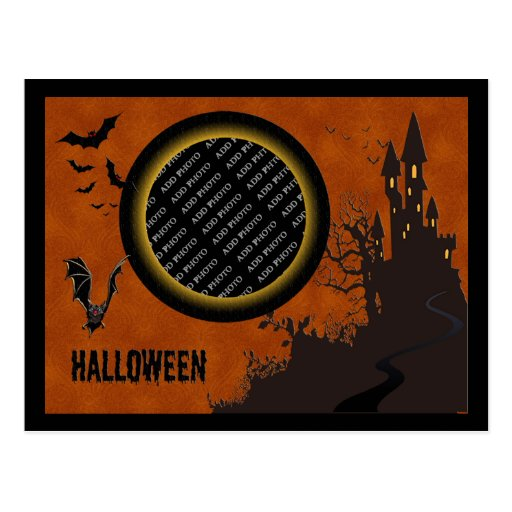 Bat, Haunted House Photo Frame and Orange Sky Post Card