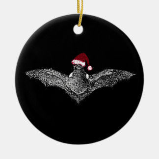 Bat In A Santa Hat Christmas Ornament