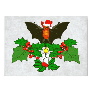 Bat In The Holly 13 Cm X 18 Cm Invitation Card