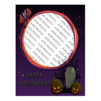 Bat, Jack o' Lanterns, Tombstone, Add Photo Frame Postcard