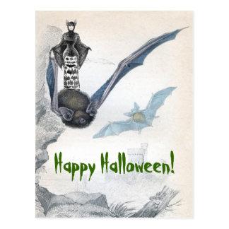 Bat Lady Happy Halloween Postcard