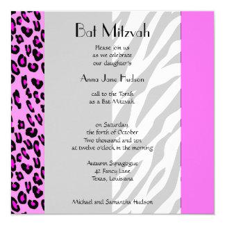 Bat Mitzvah - Animal Print, Zebra, Leopard - Pink 13 Cm X 13 Cm Square Invitation Card